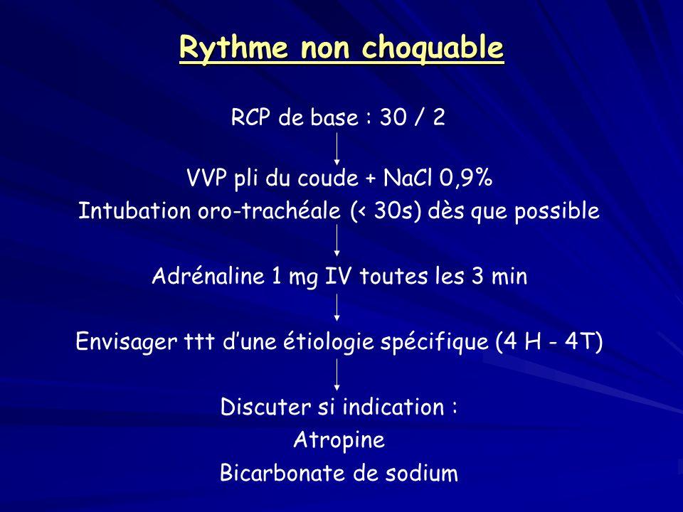 Rythme non choquable RCP de base : 30 / 2 VVP pli du coude + NaCl 0,9% Intubation oro-trachéale (< 30s) dès que possible Adrénaline 1 mg IV toutes les