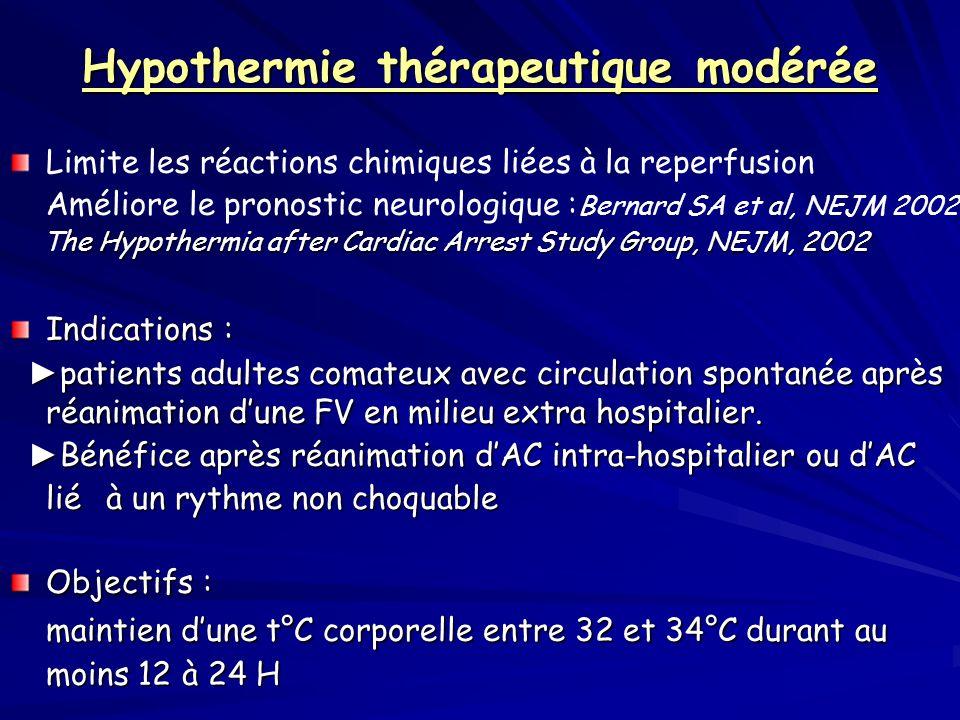 Hypothermie thérapeutique modérée Limite les réactions chimiques liées à la reperfusion Améliore le pronostic neurologique : Bernard SA et al, NEJM 20