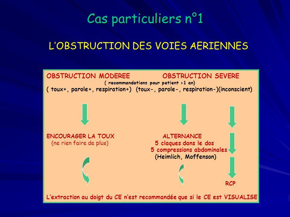 Cas particuliers n°2 LENFANT 5 insufflations + RCP de 1 minute (comprimer le thorax de 1/3) PREVENIR LES SECOURS 30/2 SEUL 15/2 PLUSIEURS APPELER A LAIDE