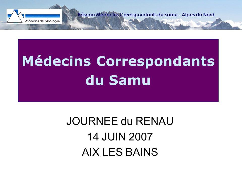 Médecins Correspondants du Samu CADRE REGLEMENTAIRE ARRETE MINISTERIEL du 12 février 2007 relatif aux médecins correspondants du Samu CIRCULAIRE DHOS du 13 février 2007 relative à la prise en charge des urgences DECRET du 22 mai 2006 relatif à la médecine durgence CIRCULAIRE DHOS du 16 avril 2003 relative à la prise en charge des urgences Réseau Médecins Correspondants du Samu - Alpes du Nord