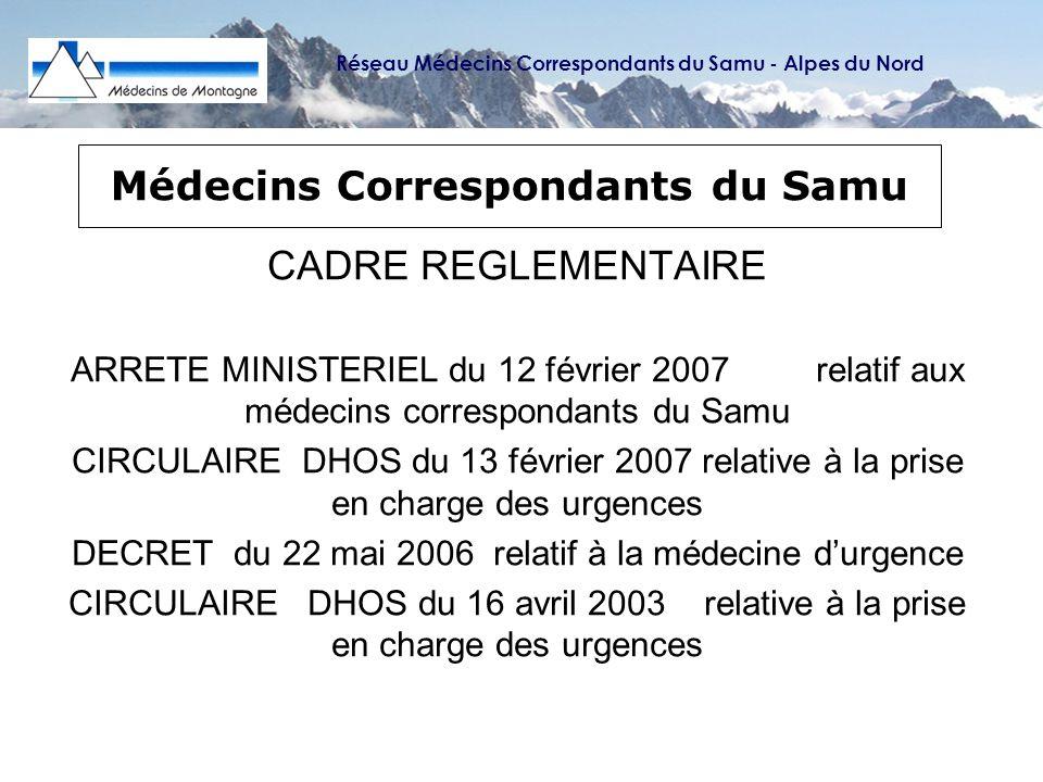 Réseau Médecins Correspondants du Samu - Alpes du Nord Dr Jean-Nicolas LEDOUX, Médecin de Montagne à Flumet – Savoie (73) Réunion ARH-DRASS Rhône-Alpes ; Lyon 13 avril 2006 55 infarctus du myocarde 30 ACR 27 AVC 5 accouchements 50 détresses respiratoires (asthme, OAP ou pneumopathie) 28 patients intubés ventilés 44 fractures de fémur, 63 Trauma Crâniens Graves Utilisation du Défibrillateur semi-automatique : 5% sur 713 interventions : 36 utilisations du DSA et 23 chocs électriques ont été délivrés (2 fois sur 3) 1ère année 4 vies sauvées sans séquelles sur 10 chocs électriques = 40%