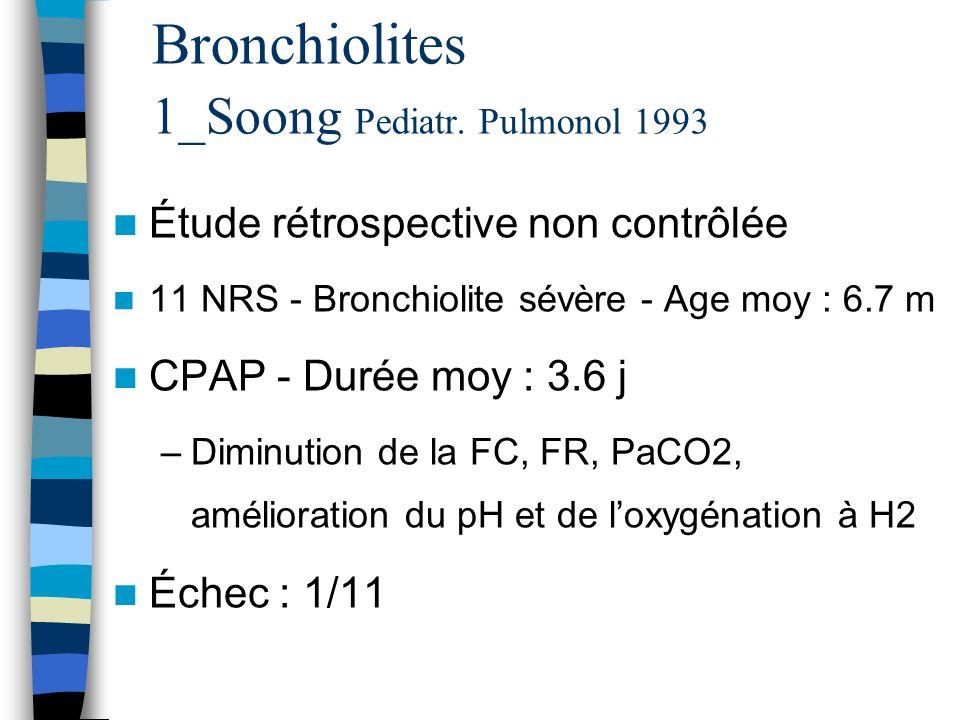 Bronchiolites 1_Soong Pediatr. Pulmonol 1993 Étude rétrospective non contrôlée 11 NRS - Bronchiolite sévère - Age moy : 6.7 m CPAP - Durée moy : 3.6 j