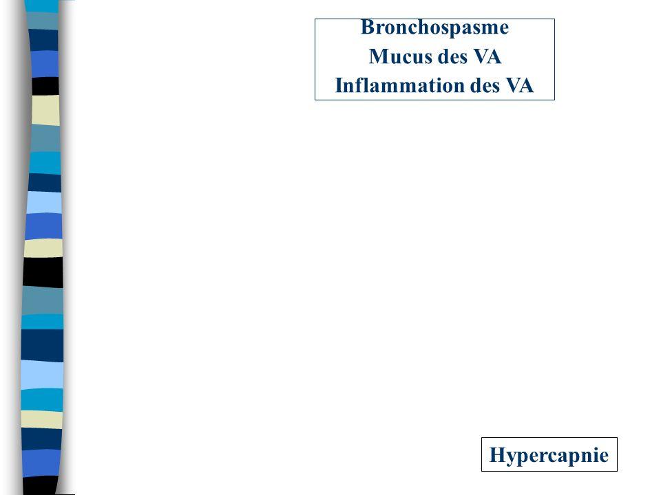 Hypercapnie Bronchospasme Mucus des VA Inflammation des VA