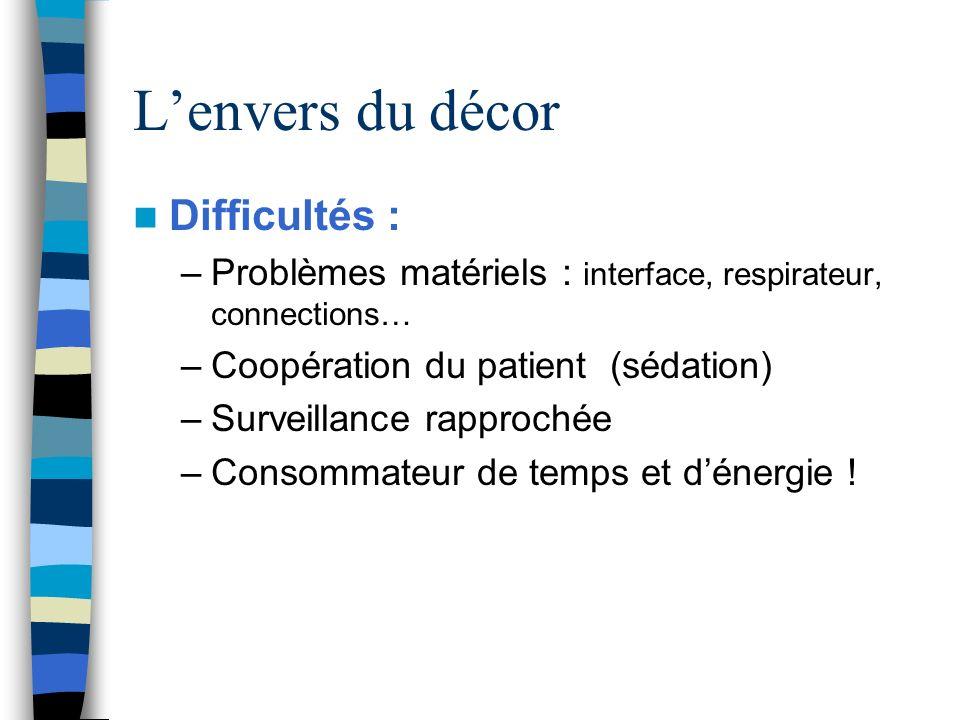 Difficultés : –Problèmes matériels : interface, respirateur, connections… –Coopération du patient (sédation) –Surveillance rapprochée –Consommateur de