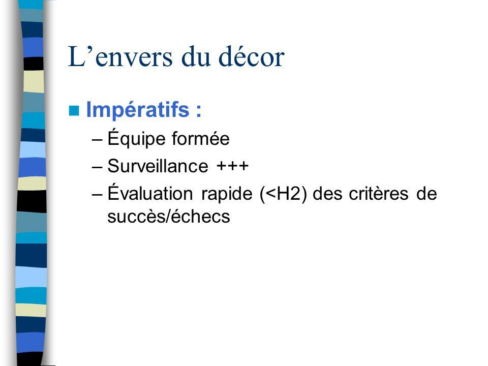 Lenvers du décor Impératifs : –Équipe formée –Surveillance +++ –Évaluation rapide (<H2) des critères de succès/échecs