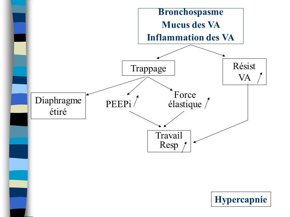 Hypercapnie Travail Resp Résist VA Trappage PEEPi Force élastique Diaphragme étiré Bronchospasme Mucus des VA Inflammation des VA