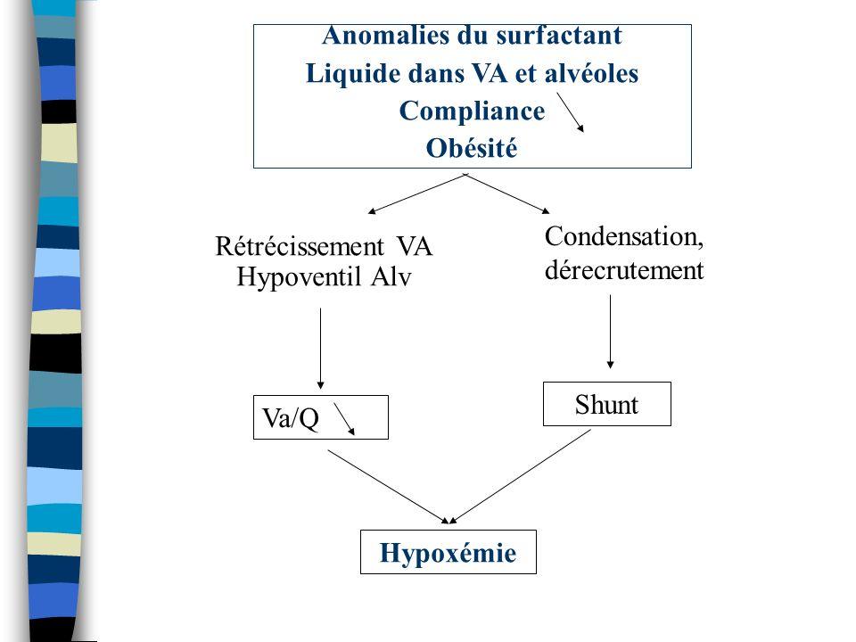 Hypoxémie Shunt Va/Q Rétrécissement VA Hypoventil Alv Anomalies du surfactant Liquide dans VA et alvéoles Compliance Obésité Condensation, dérecruteme