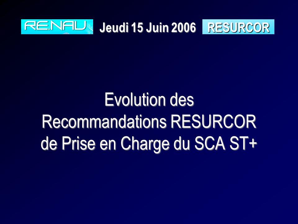 Evolution des Recommandations RESURCOR de Prise en Charge du SCA ST+ RESURCOR Jeudi 15 Juin 2006