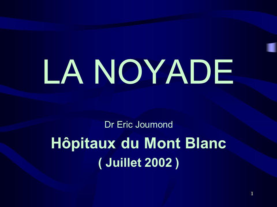 1 LA NOYADE Dr Eric Joumond Hôpitaux du Mont Blanc ( Juillet 2002 )