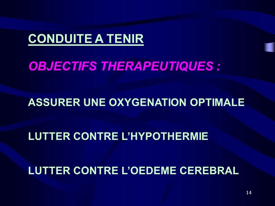 14 CONDUITE A TENIR OBJECTIFS THERAPEUTIQUES : ASSURER UNE OXYGENATION OPTIMALE LUTTER CONTRE LHYPOTHERMIE LUTTER CONTRE LOEDEME CEREBRAL