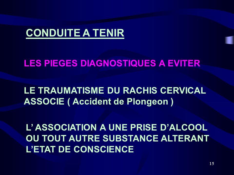 15 CONDUITE A TENIR LES PIEGES DIAGNOSTIQUES A EVITER LE TRAUMATISME DU RACHIS CERVICAL ASSOCIE ( Accident de Plongeon ) L ASSOCIATION A UNE PRISE DAL
