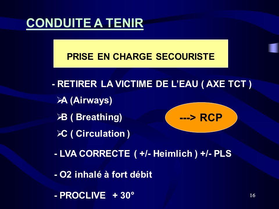 16 CONDUITE A TENIR - RETIRER LA VICTIME DE LEAU ( AXE TCT ) - LVA CORRECTE ( +/- Heimlich ) +/- PLS - O2 inhalé à fort débit PRISE EN CHARGE SECOURIS