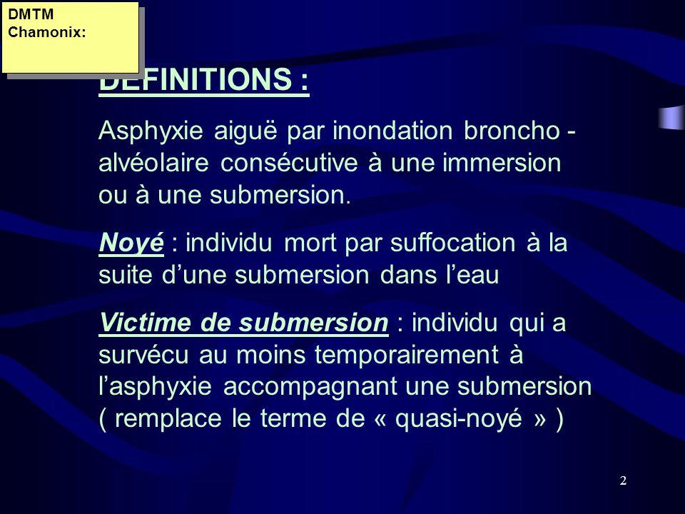 2 DEFINITIONS : Asphyxie aiguë par inondation broncho - alvéolaire consécutive à une immersion ou à une submersion. Noyé : individu mort par suffocati