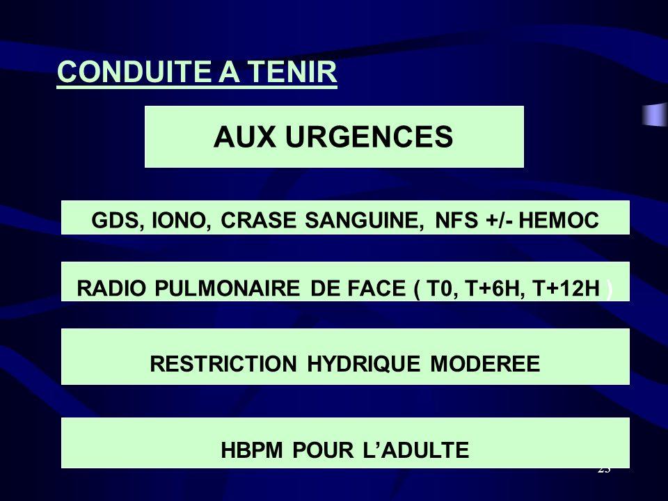 23 CONDUITE A TENIR AUX URGENCES GDS, IONO, CRASE SANGUINE, NFS +/- HEMOC RADIO PULMONAIRE DE FACE ( T0, T+6H, T+12H ) RESTRICTION HYDRIQUE MODEREE HB