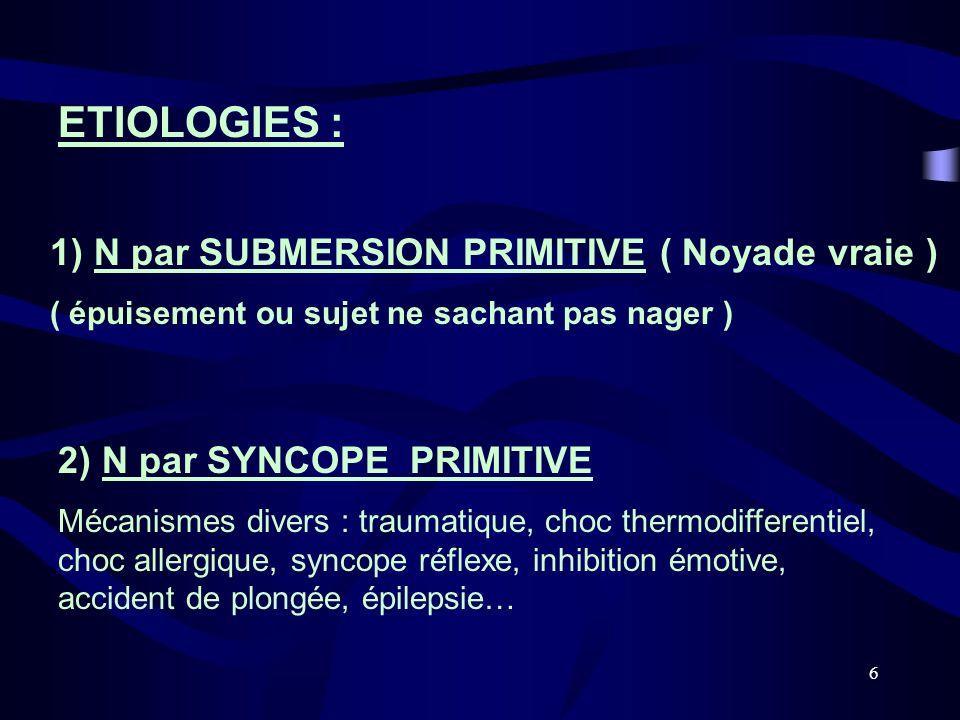 6 ETIOLOGIES : 1) N par SUBMERSION PRIMITIVE ( Noyade vraie ) ( épuisement ou sujet ne sachant pas nager ) 2) N par SYNCOPE PRIMITIVE Mécanismes diver