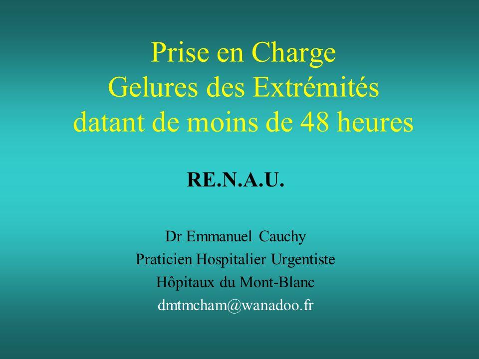 Prise en Charge Gelures des Extrémités datant de moins de 48 heures RE.N.A.U. Dr Emmanuel Cauchy Praticien Hospitalier Urgentiste Hôpitaux du Mont-Bla