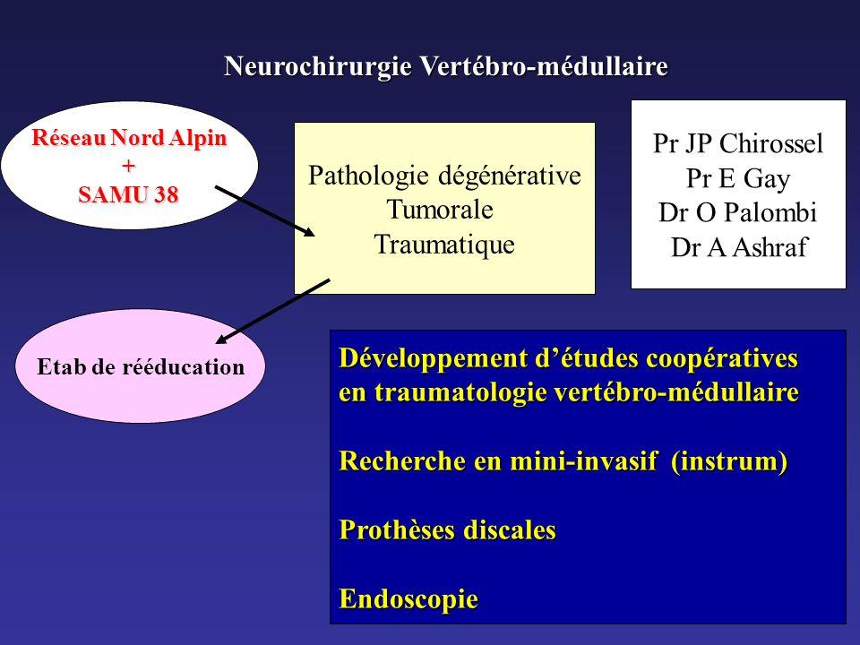 Neurochirurgie Vertébro-médullaire Pathologie dégénérative Tumorale Traumatique Pr JP Chirossel Pr E Gay Dr O Palombi Dr A Ashraf Réseau Nord Alpin +