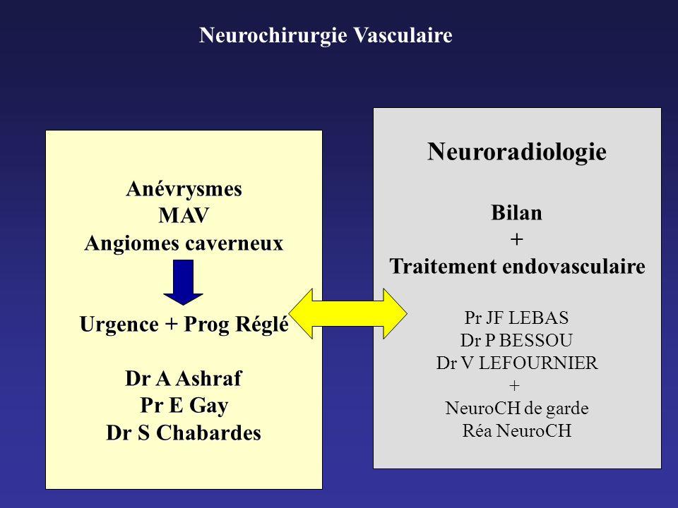 Neurochirurgie Vasculaire AnévrysmesMAV Angiomes caverneux Urgence + Prog Réglé Dr A Ashraf Pr E Gay Dr S Chabardes Neuroradiologie Bilan + Traitement