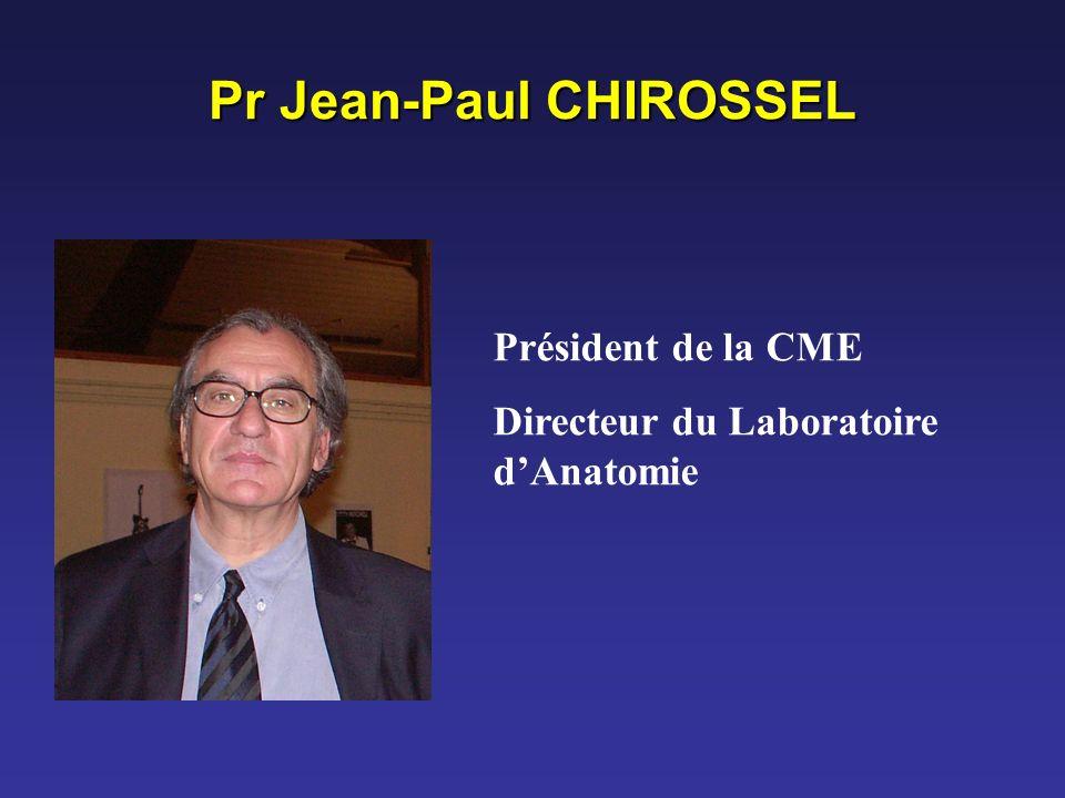 Pr Jean-Paul CHIROSSEL Président de la CME Directeur du Laboratoire dAnatomie