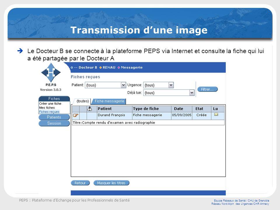 PEPS : Plateforme dEchange pour les Professionnels de Santé Equipe Réseaux de Santé / CHU de Grenoble Réseau Nord Alpin des Urgences/CHR Annecy Transm