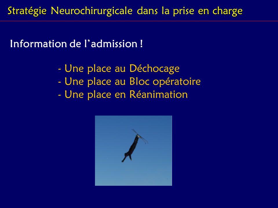 Stratégie en charge Stratégie Neurochirurgicale dans la prise en charge Information de ladmission ! - Une place au Déchocage - Une place au Bloc opéra