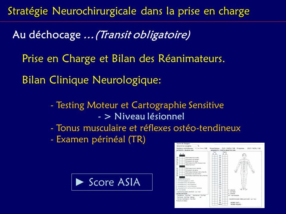 Stratégie en charge Stratégie Neurochirurgicale dans la prise en charge Au déchocage …(Transit obligatoire) Bilan Clinique Neurologique: - Testing Mot