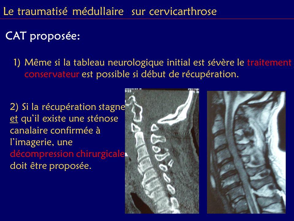 1)Même si la tableau neurologique initial est sévère le traitement conservateur est possible si début de récupération. 2) Si la récupération stagne et