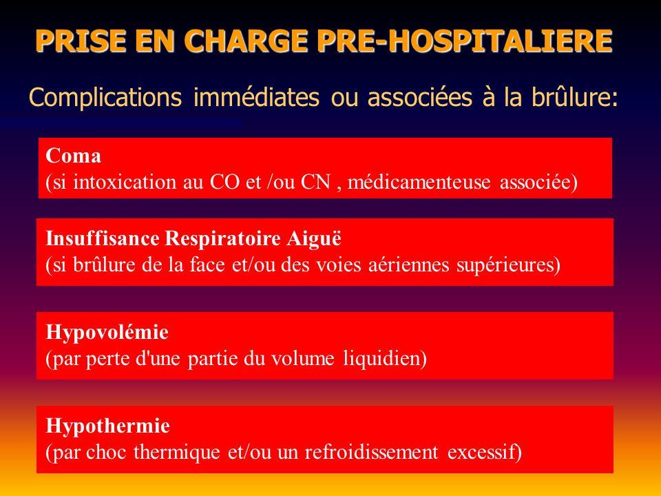 PRISE EN CHARGE PRE-HOSPITALIERE Complications immédiates ou associées à la brûlure: Coma (si intoxication au CO et /ou CN, médicamenteuse associée) I