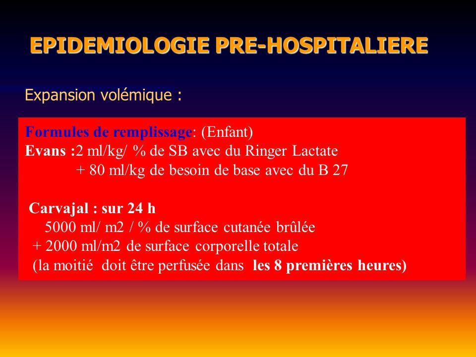 EPIDEMIOLOGIE PRE-HOSPITALIERE EPIDEMIOLOGIE PRE-HOSPITALIERE Formules de remplissage: (Enfant) Evans :2 ml/kg/ % de SB avec du Ringer Lactate + 80 ml