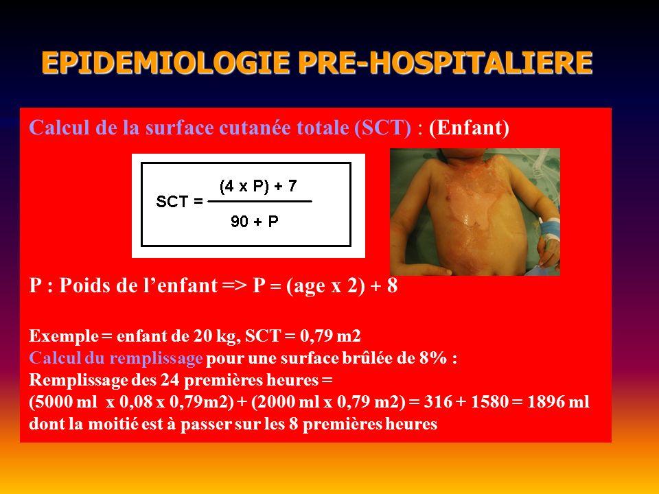 EPIDEMIOLOGIE PRE-HOSPITALIERE EPIDEMIOLOGIE PRE-HOSPITALIERE Calcul de la surface cutanée totale (SCT) : (Enfant) P : Poids de lenfant => P = (age x