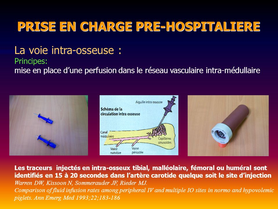 PRISE EN CHARGE PRE-HOSPITALIERE PRISE EN CHARGE PRE-HOSPITALIERE La voie intra-osseuse : Principes: mise en place dune perfusion dans le réseau vascu