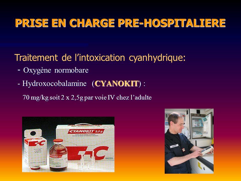 - Oxygène normobare CYANOKIT - Hydroxocobalamine (CYANOKIT) : 70 mg/kg soit 2 x 2,5g par voie IV chez ladulte PRISE EN CHARGE PRE-HOSPITALIERE PRISE E