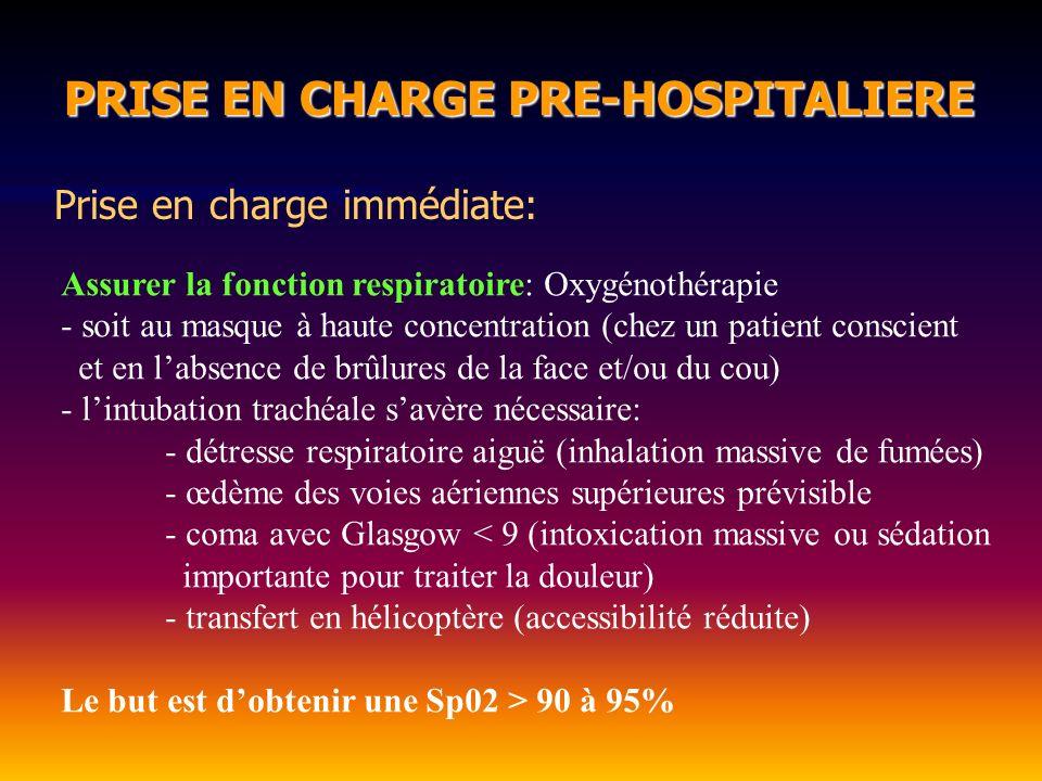 PRISE EN CHARGE PRE-HOSPITALIERE PRISE EN CHARGE PRE-HOSPITALIERE Prise en charge immédiate: Assurer la fonction respiratoire: lintubation oro-trachéale Anesthésie: Si l intubation est nécessaire (coma, détresse ventilatoire….) Si possible mettre une sonde dintubation > 7,5 (Chez lenfant diamètre de la sonde = (age + 16) / 4 ) Brûlure importante > 30%, oedème laryngé, crachats de suie + hémoptysie.