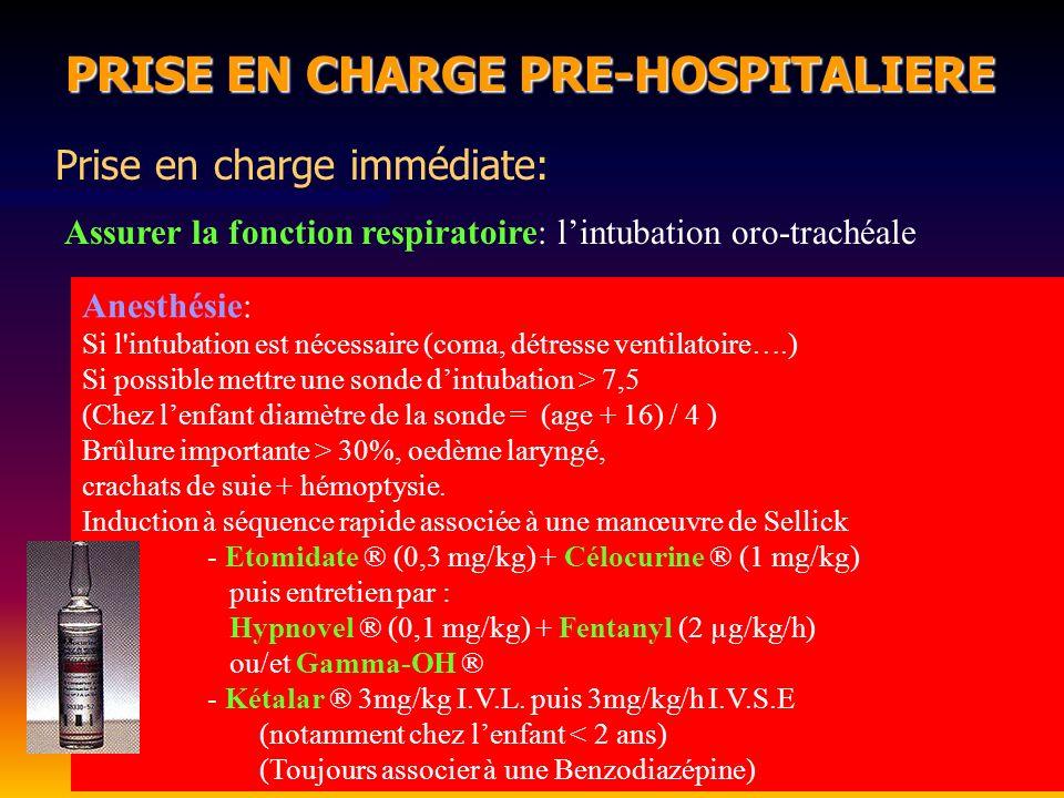 Surveillance clinique (diurèse, PA, Fréquence cardiaque) Surveillance clinique (diurèse, PA, Fréquence cardiaque) Toujours penser à la poursuite de lexpansion volémique après H1 Toujours penser à la poursuite de lexpansion volémique après H1 En cas dhypovolémie persistante colloïdes +/- catécholamines (Intox CO, CN ???) En cas dhypovolémie persistante colloïdes +/- catécholamines (Intox CO, CN ???) PRISE EN CHARGE PRE-HOSPITALIERE PRISE EN CHARGE PRE-HOSPITALIERE Expansion volémique