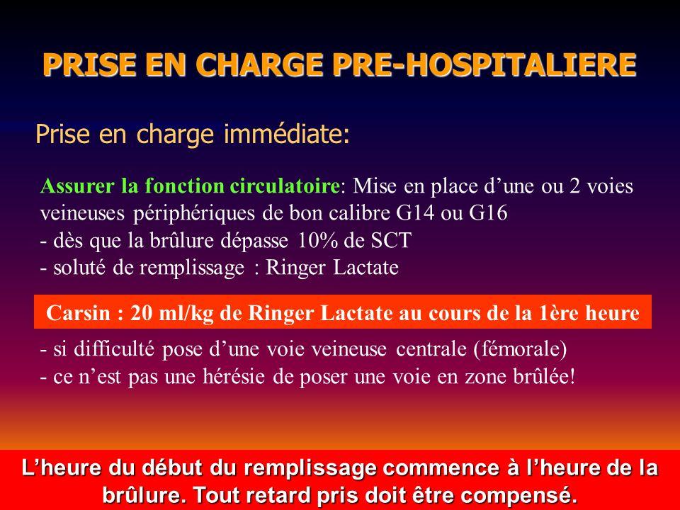 PRISE EN CHARGE PRE-HOSPITALIERE PRISE EN CHARGE PRE-HOSPITALIERE Prise en charge immédiate: Assurer la fonction circulatoire: Mise en place dune ou 2