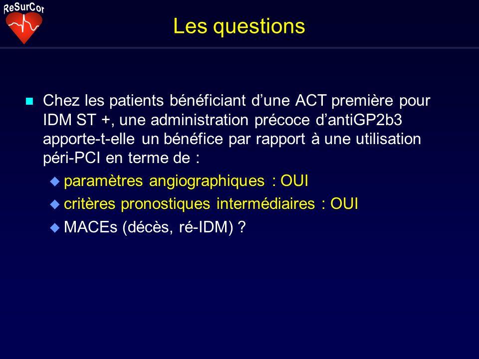 Les questions n Chez les patients bénéficiant dune ACT première pour IDM ST +, une administration précoce dantiGP2b3 apporte-t-elle un bénéfice par rapport à une utilisation péri-PCI en terme de : u paramètres angiographiques : OUI u critères pronostiques intermédiaires : OUI u MACEs (décès, ré-IDM)