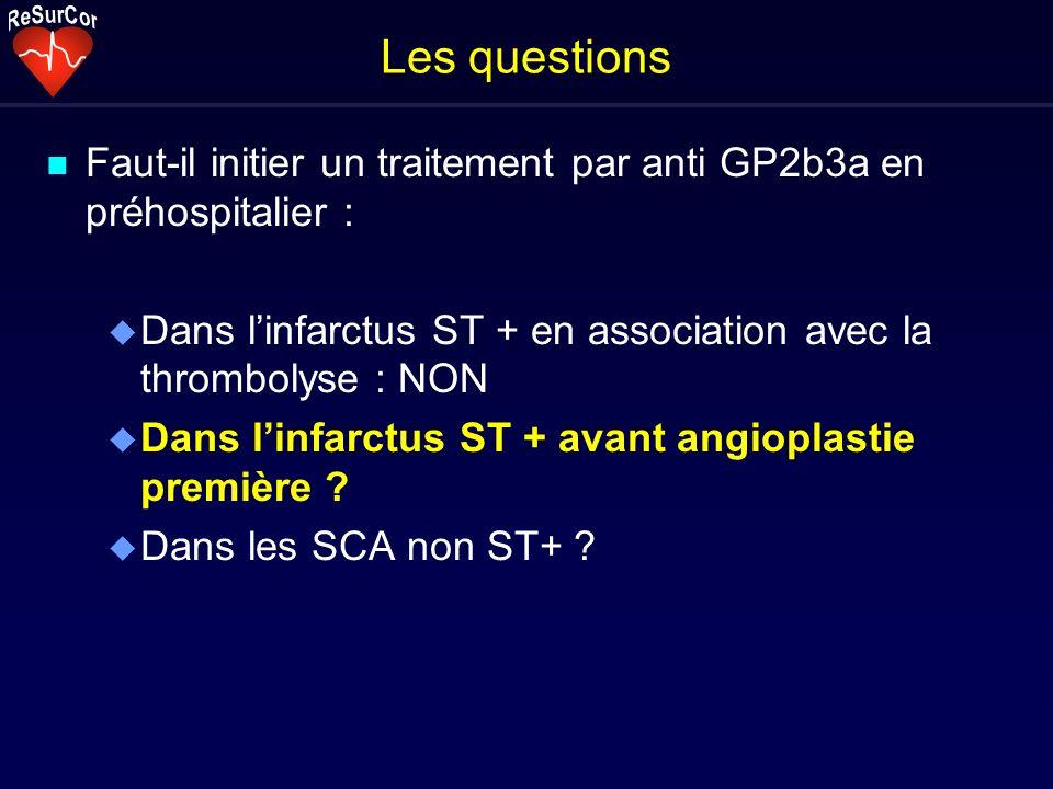 Les questions n Faut-il initier un traitement par anti GP2b3a en préhospitalier : u Dans linfarctus ST + en association avec la thrombolyse : NON u Da