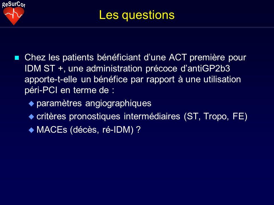 Les questions n Chez les patients bénéficiant dune ACT première pour IDM ST +, une administration précoce dantiGP2b3 apporte-t-elle un bénéfice par ra