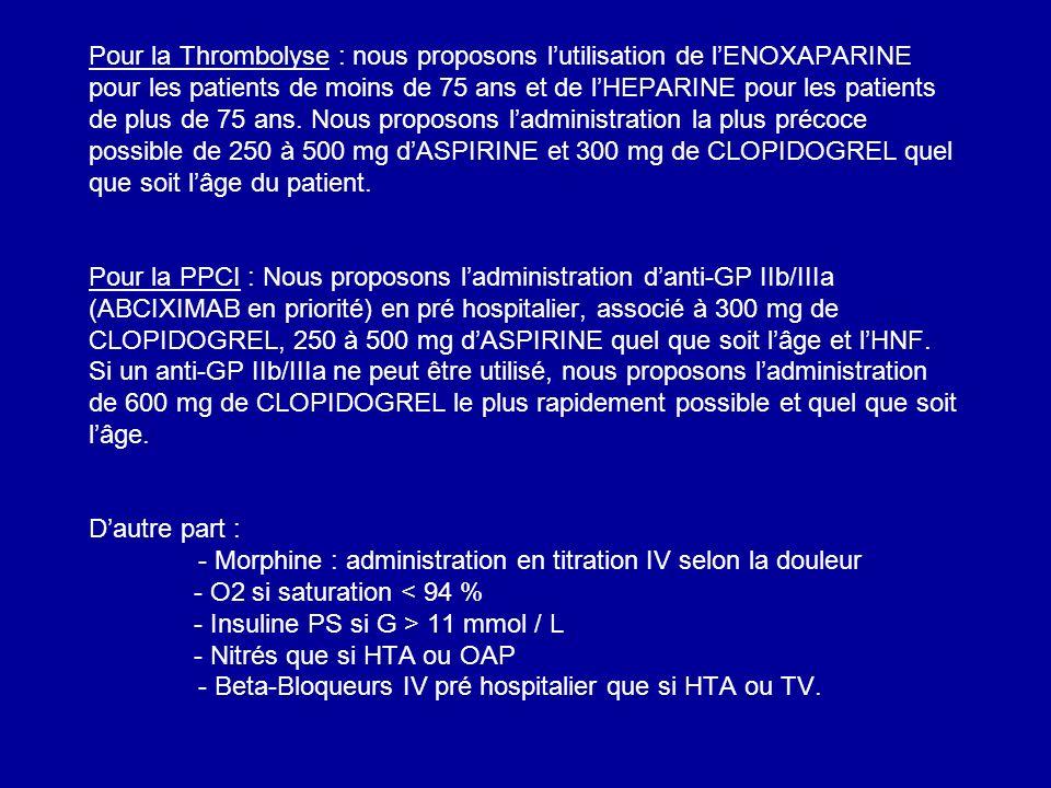 Pour la Thrombolyse : nous proposons lutilisation de lENOXAPARINE pour les patients de moins de 75 ans et de lHEPARINE pour les patients de plus de 75 ans.
