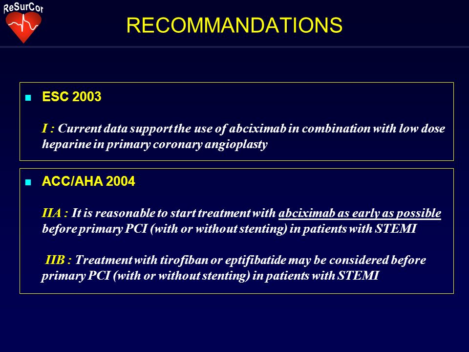 RECOMMANDATIONS ESC 2003 I : Current data support the use of abciximab in combination with low dose heparine in primary coronary angioplasty ACC/AHA 2
