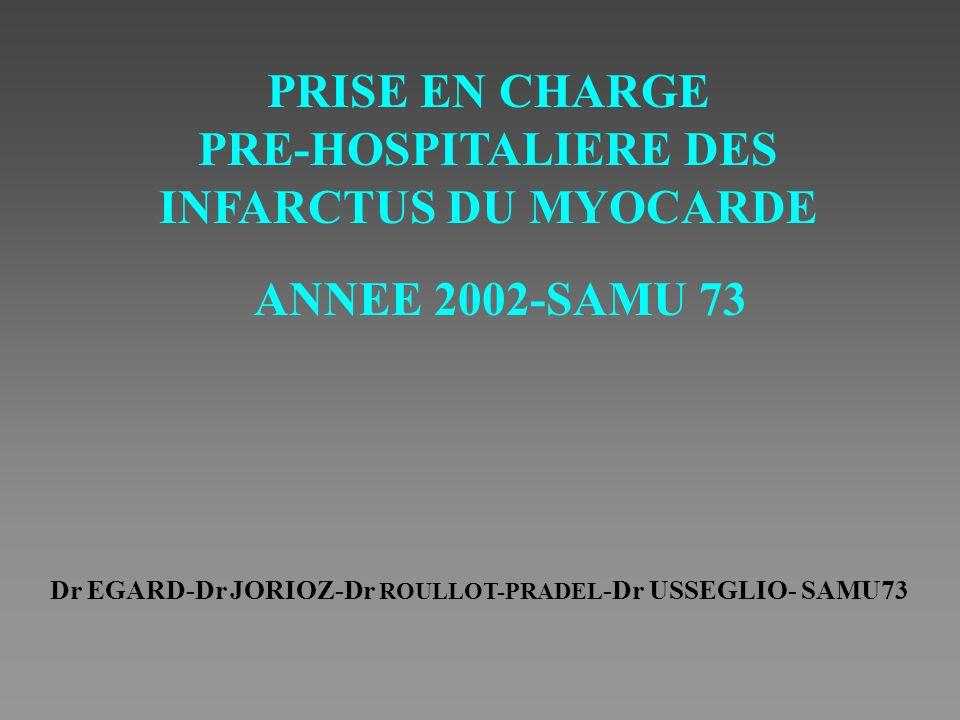 PRISE EN CHARGE PRE-HOSPITALIERE DES INFARCTUS DU MYOCARDE ANNEE 2002-SAMU 73 Dr EGARD-Dr JORIOZ-Dr ROULLOT-PRADEL -Dr USSEGLIO- SAMU73