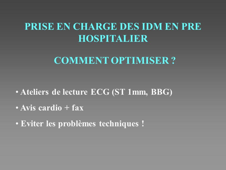 PRISE EN CHARGE DES IDM EN PRE HOSPITALIER COMMENT OPTIMISER ? Ateliers de lecture ECG (ST 1mm, BBG) Avis cardio + fax Eviter les problèmes techniques