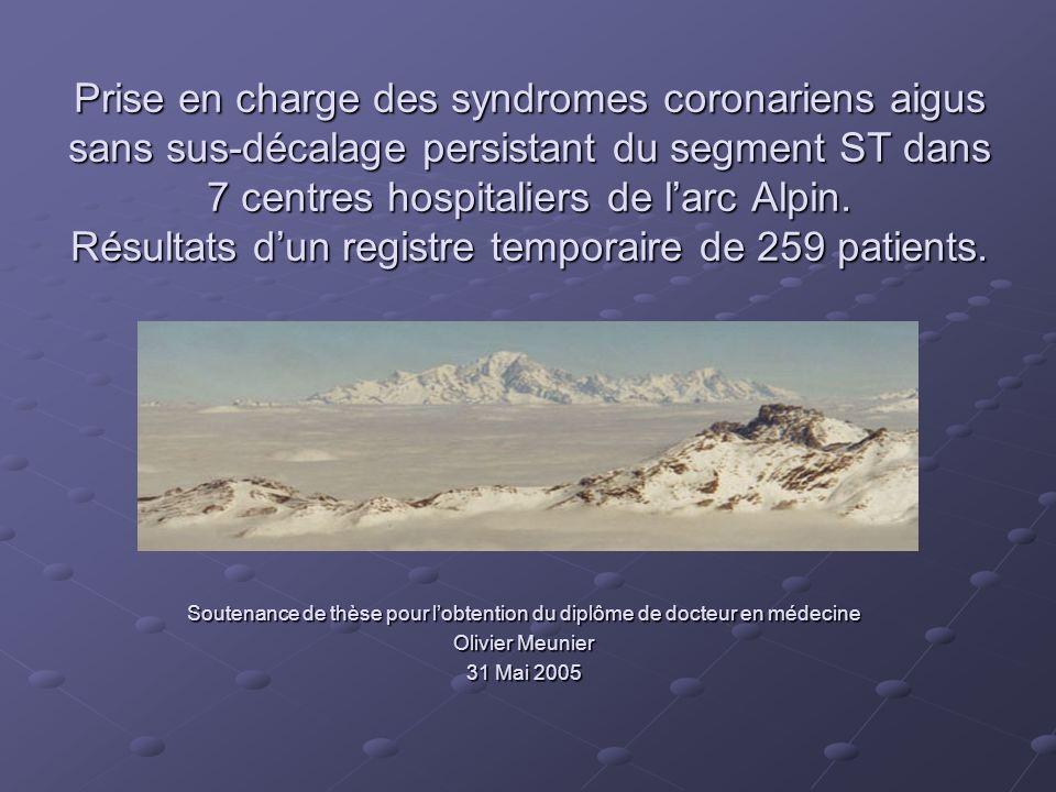 Prise en charge des syndromes coronariens aigus sans sus-décalage persistant du segment ST dans 7 centres hospitaliers de larc Alpin. Résultats dun re