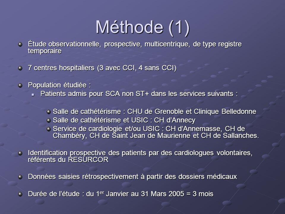 Méthode (1) Étude observationnelle, prospective, multicentrique, de type registre temporaire 7 centres hospitaliers (3 avec CCI, 4 sans CCI) Populatio