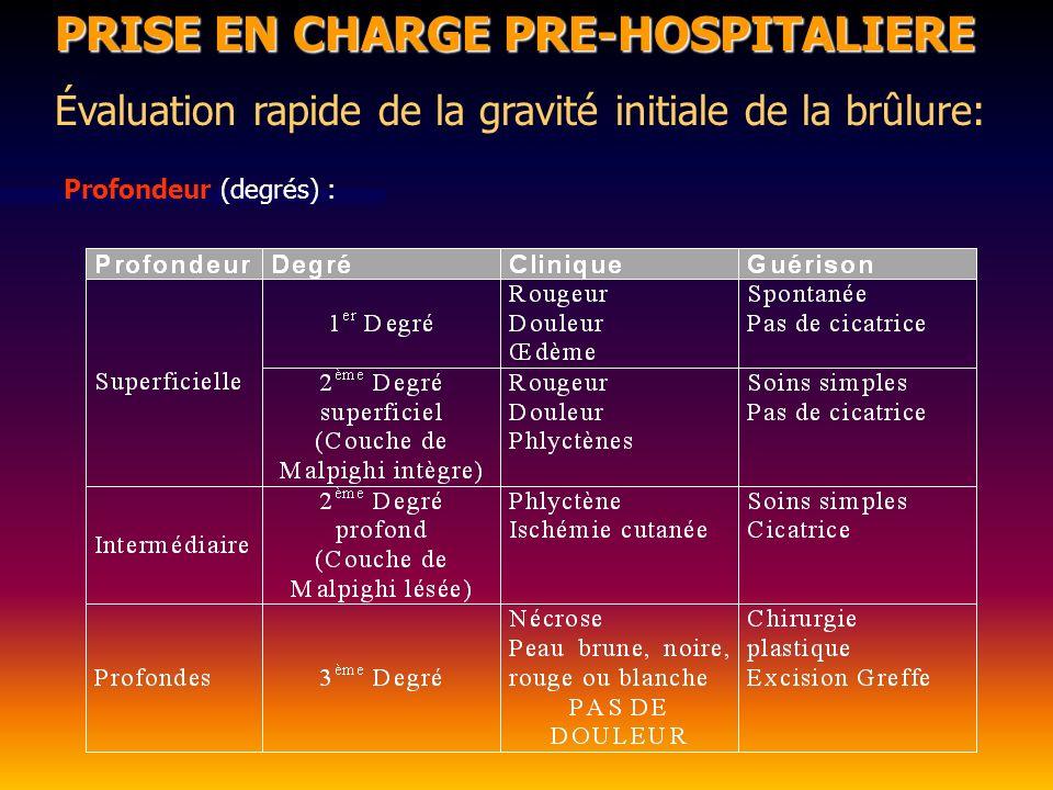 Brûlures profondes PRISE EN CHARGE PRE-HOSPITALIERE