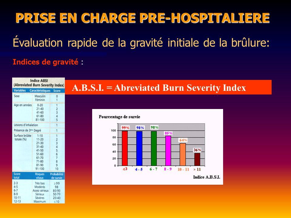 PRISE EN CHARGE PRE-HOSPITALIERE Évaluation rapide de la gravité initiale de la brûlure: Indices de gravité : A.B.S.I.