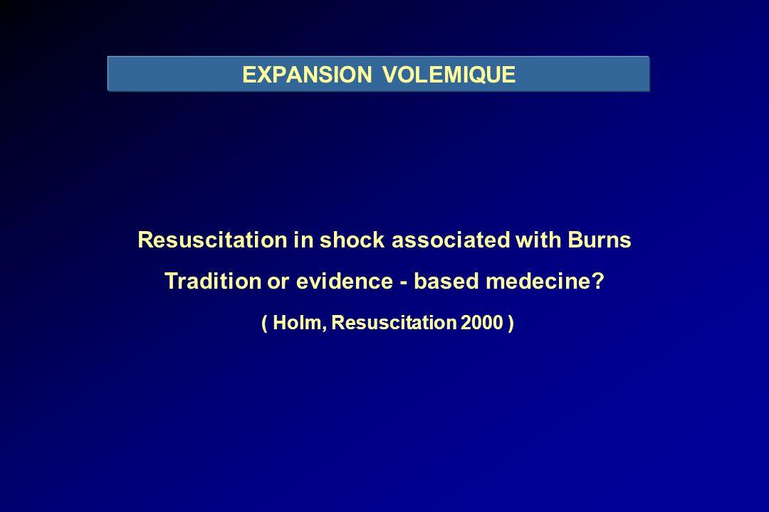 FORMULE DU PARKLAND HOSPITAL ( Baxter, Surg Clin N Am 1978 ) 4 mL.kg -1 / % SCB Ringer lactate le premier jour MAIS 58 % des prescriptions > 4,3 mL.kg -1 / % SCB « A biopsy of the use of the Baxter formula to resuscitate burns or do we do it like Charlie did it .