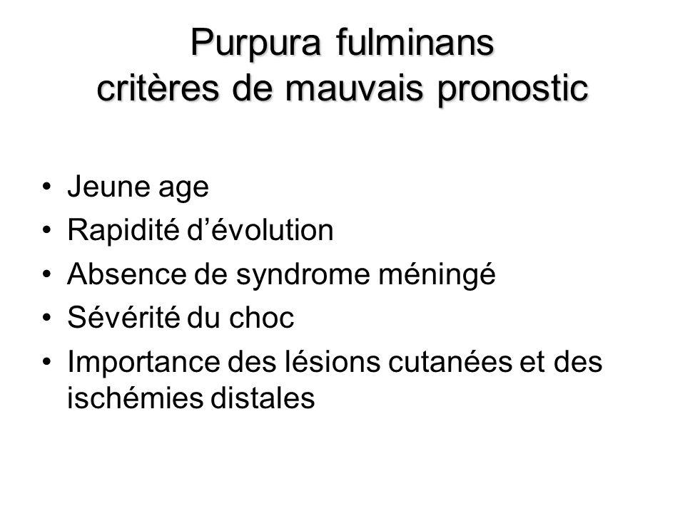 Purpura fulminans critères de mauvais pronostic Jeune age Rapidité dévolution Absence de syndrome méningé Sévérité du choc Importance des lésions cuta