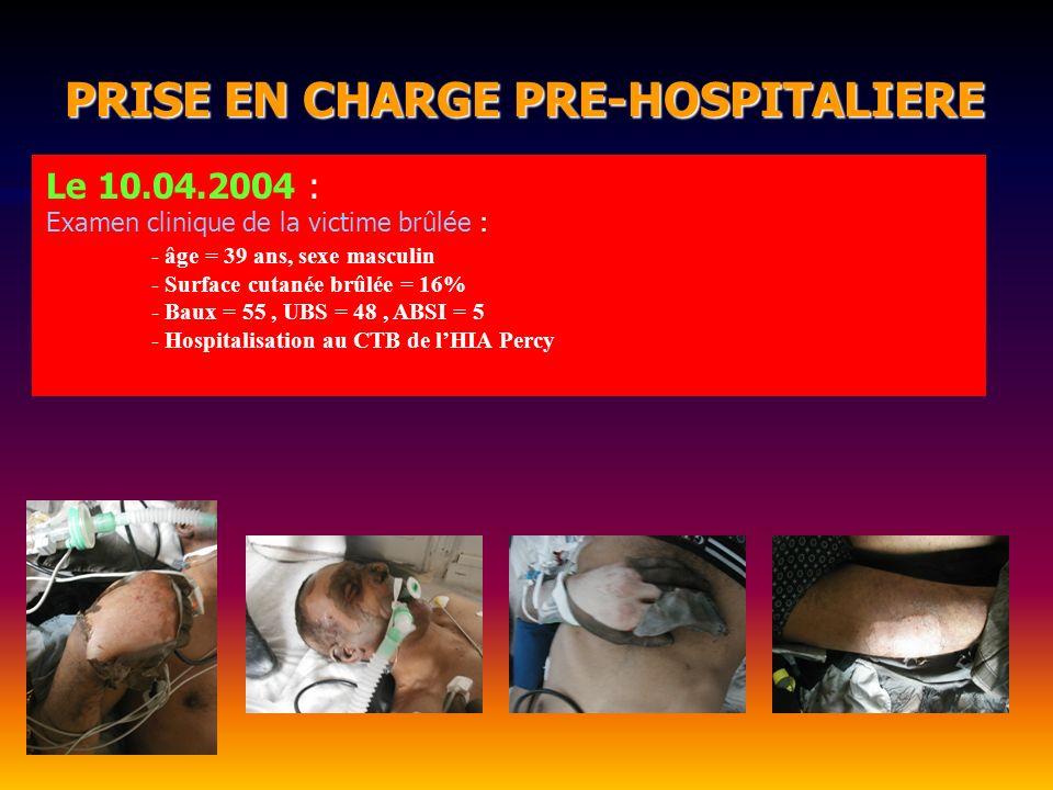 PRISE EN CHARGE PRE-HOSPITALIERE PRISE EN CHARGE PRE-HOSPITALIERE Le 10.04.2004 : Examen clinique de la victime brûlée : - âge = 39 ans, sexe masculin
