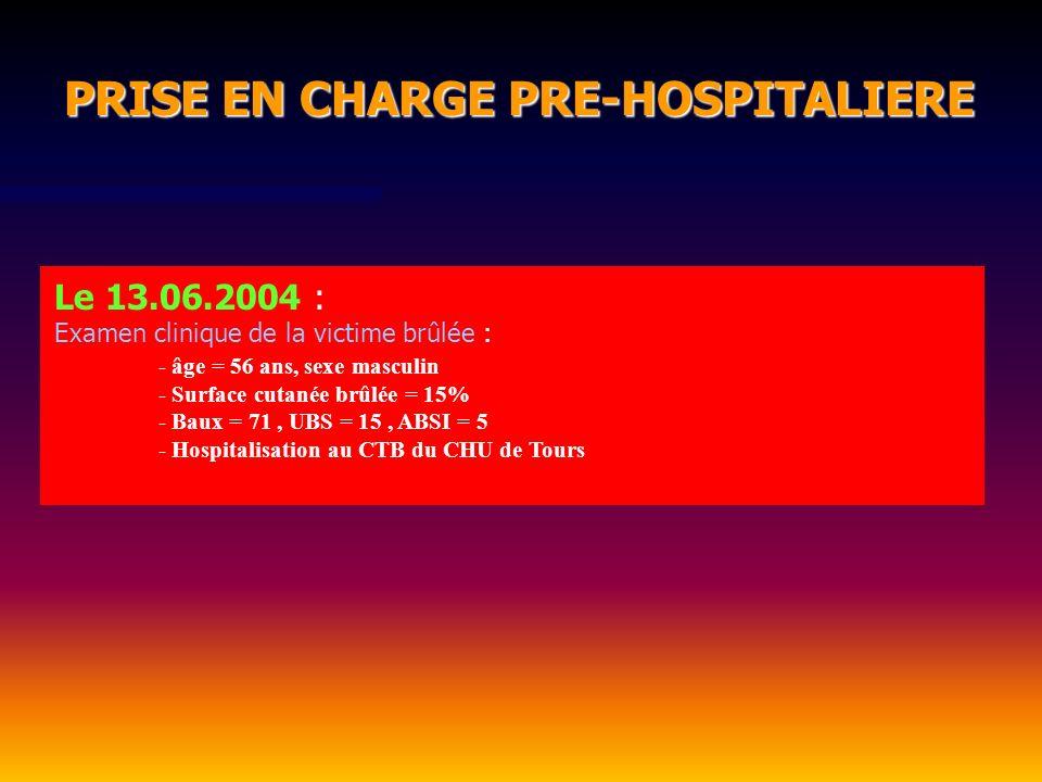 PRISE EN CHARGE PRE-HOSPITALIERE PRISE EN CHARGE PRE-HOSPITALIERE Le 13.06.2004 : Examen clinique de la victime brûlée : - âge = 56 ans, sexe masculin